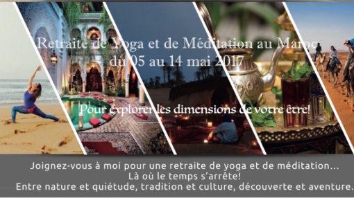 flyer Saloua ACHARKI retraite yoga meditation maroc mai 2017